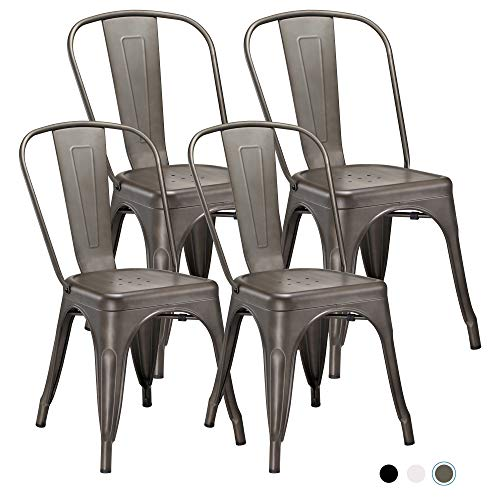 Metal Indoor-Outdoor Dining Chairs Stackable Chic Industrial Side Chairs Design Stools with Back Use for Kitchen Bistro Cafe Set of 4 (Gun Metal)