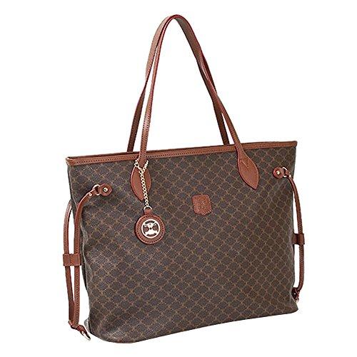 Leather Accents Shopper Shoulder Bag (brown) ()