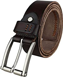 Heepliday Men's Silver Color Buckle Male Leather 16010 Belt X-Large 36-38 Coffee