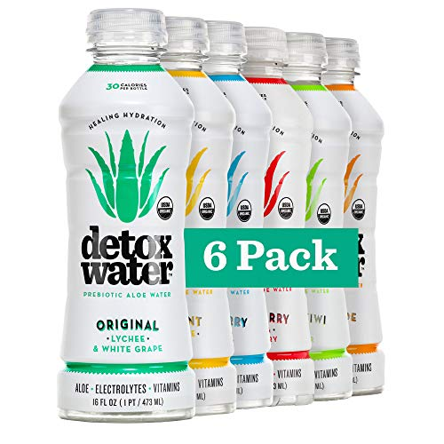 Detoxwater Organic Aloe Vera Infused Prebiotic Water - Variety | Contains Highest Quality ACTIValoe® with Electrolytes, Vitamins, Antioxidants | Improves Skin Complexion | 30 Calories (6 Pack)