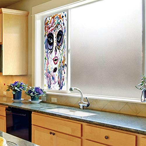 Privacy Frosted Decorative Vinyl Decal Window Film,Sugar Skull Decor,for Bathroom, Kitchen, Home, Easy to Install,Halloween Girl with Sugar Skull Makeup Watercolor Painting,24''x70'' ()