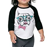 xbox 360 georgia bulldogs - SH-rong Funny French Bulldog With Glass Toddler Round Collar T-shirt Size3 Toddler