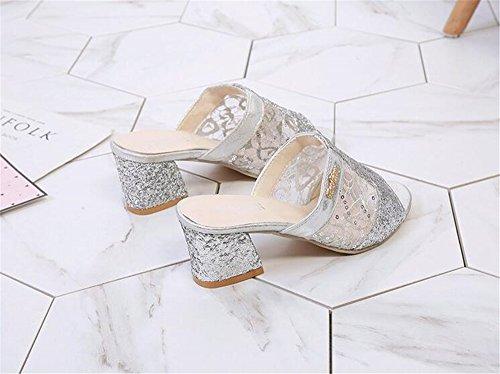 Toe Crude Summer Slipper Women Open Sandal for Shoes Dress Heeled On Slip Design BY0NE Slide Sliver Casual wqx6d5B8w