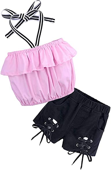 Baby Toddler Girls Summer Sets 1-7 Years Old Kids Ruffles Off Shoulder Shirt Tops Shorts Pants Outfits Clothes