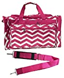 22-inch Travel Duffle Bag | Multiple Designs to Choose From | Perfect Travel Size Duffel Bag by Unique Traveler (Chevron-Pink White)