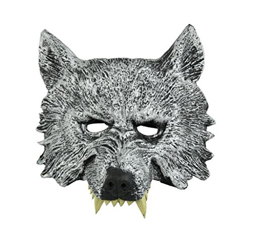 [Shensee Creepy Wolf Latex Head Mask Cosplay Animal Halloween Party Mask] (Latex Wolf Suit)
