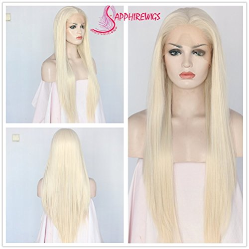 Strand Light Sapphire (Light Blonde Color Straight Synthetic Lace Front Women Daily Makeup Wigs)