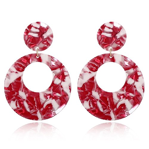 Red Resin Earrings - Jiami Resin Hoop Earrings Dangle Drop Earring Fashion Women Girls Earring, Red