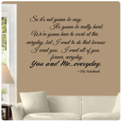 The Notebook You and Me Everyday romantic Wall Decal Black 30quot x 22quot