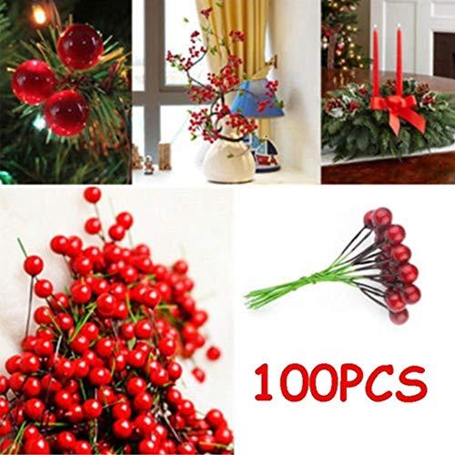 Ocamo 100pcs Halloween 10mm DIY Simulate Red Berry for Christmas Tree Garlands Wedding Decoration