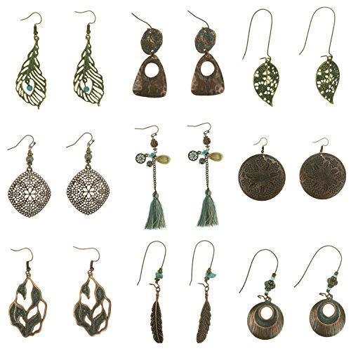 Coolcoco Fashion Metal Vintage Earrings Set with Dangle Pendant for Women Lady Girls Prime (9 pieces/set)