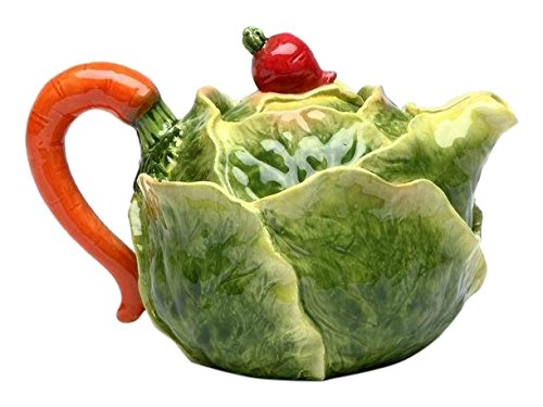 Cg 20806 16 Oz Porcelain Cabbage Teapot with Red Radish Knob on Lid Handle