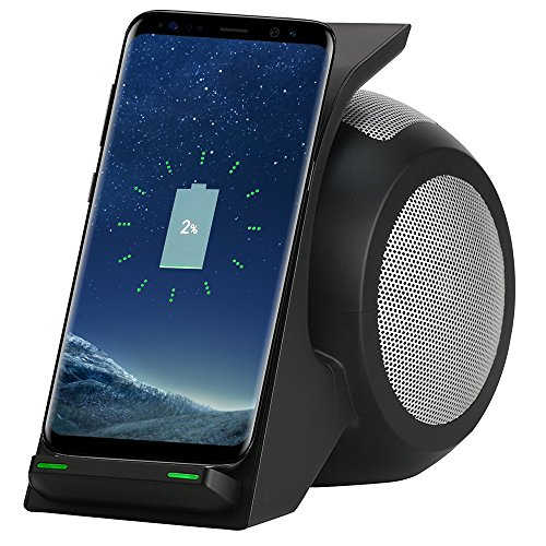 Fast Wireless Charger with Bluetooth Speaker, Home Stereo, Computer Speaker, 2 Coils Wireless Charging Station for Samsung Galaxy Note 8/S8/S7 Edge/S7, iPhone X/8, LG HTC All Qi-Enabled Devices