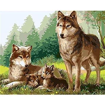 Qjhxd Lobo Familia Animales Bricolaje Pintura Por Kits De Números