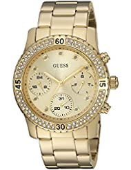 GUESS Womens U0851L2 Sporty Gold-Tone Watch with Gold Dial , Crystal-Accented Bezel and Stainless Steel Pilot...