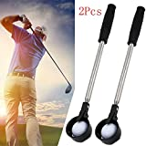 Buyeverything 2 Pack Lightweight Hinged Cup Retractable Golf Ball Retriever Picker Stainless Steel Telescopic Shaft with Automatic Locking Scoop
