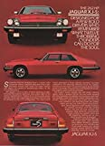 "Magazine Print Ad: Red 1983 Jaguar XJ-S, ""Designed for a few bold drivers who remember what twelve throbbing cylinders can do for the soul"""