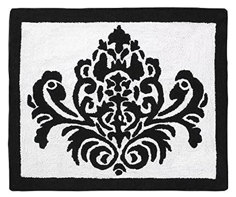 Black and White Damask Girls Sloane Accent Floor Rug (Girls Black Rug)