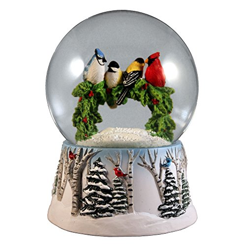 (Multi Birds on a Wreath Water Globe San Francisco Music Box)