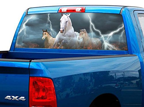 P419 Horse Lightning Tint Rear Window Decal Wrap Graphic Perforated See Through Universal Size 65