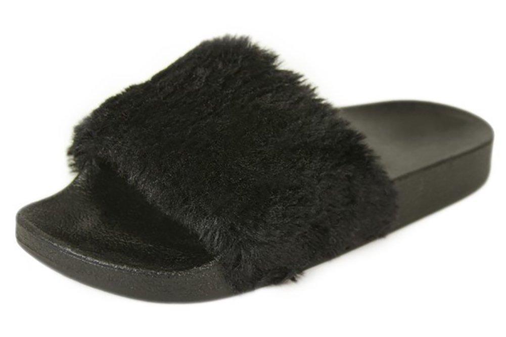 Posh Style Women's Fashion Comfy Soft Fur Slide, Size 9 Black