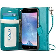 ZenFone 3 Zoom Case, J&D [RFID Blocking Wallet] [Slim Fit] Heavy Duty Protective Shock Resistant Flip Cover Wallet Case for ASUS ZenFone 3 Zoom - Aqua