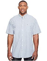 Nautica Men's Short Sleeve Small Plaid Button Down Shirt
