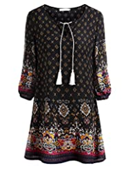 BAISHENGGT Women's Tied V-Neck Ethnic Floral Print Casual Mini Dress