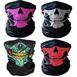 Imixshop Universal Seamless Tube Skull Mask Breathable Balaclava Bandana Headwear Dust-Proof Windproof (Black+Green+Pink+Red)