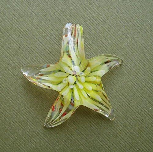 BeadsTreasure Starfish Yellow Lampwork Blown Glass Murano Pendant.