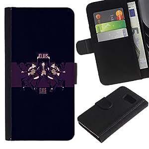 KLONGSHOP // Tirón de la caja Cartera de cuero con ranuras para tarjetas - Elvis - Samsung Galaxy S6 //