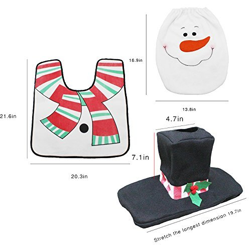 Christmas Toilet Seat Cover and Rug Set, Bathroom Christmas Decoration Supplies (Snow Man)