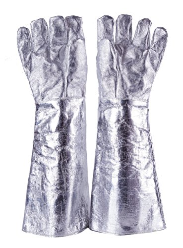 55cm High Temp(1000°C) Heat Resistant Aluminized Glove Safety Fire Welder Welding TIG Work Gloves (Heat Boilers Radiant)