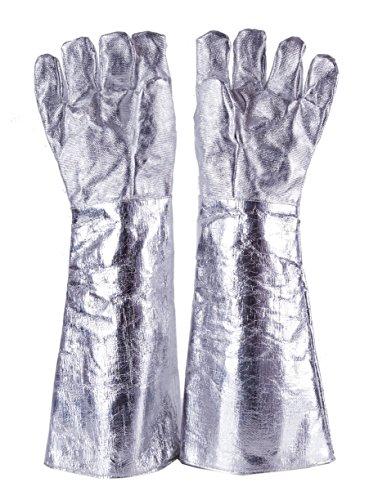 55cm High Temp(1000°C) Heat Resistant Aluminized Glove Safety Fire Welder Welding TIG Work - Heat Gloves Resistant High