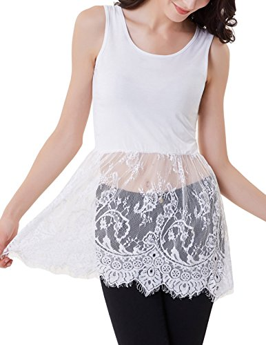 e Wear Crochet Lace Layered Cami Dress Tee(S,White 909) ()