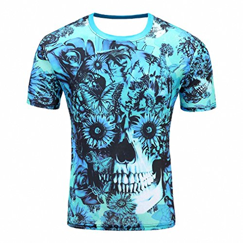 [Mens T Shirts 3D Printed Short Sleeve O Neck Skull Head Fashion Casual O Neck Men Shirt Brand Clothing Khaki M] (1950s Nurse Costumes)