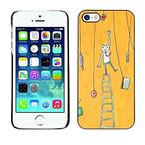 TopCaseStore / caoutchouc Hard Case Housse de protection la Peau - Cat Painting Art Yellow - Apple iPhone 5 / 5S