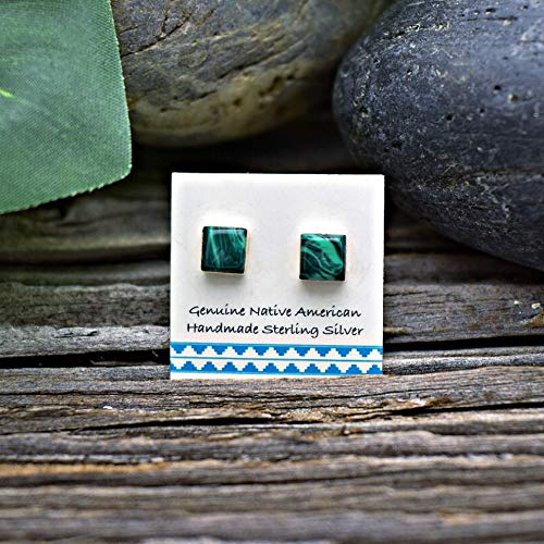(5mm Genuine Malachite Square Stud Earrings in 925 Sterling Silver, Authentic Navajo Native American, Handmade in the USA, Nickle Free, Dark Green)