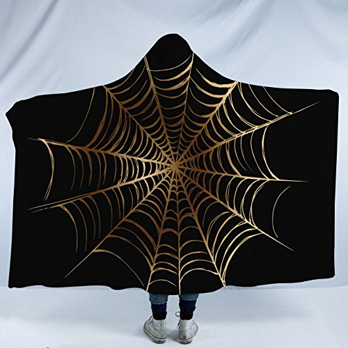 Sleepwish Gold Spider Web Hooded Blanket Metallic Spiderweb on Black Ultra Soft Halloween Sherpa Fleece Blanket (Adults 60