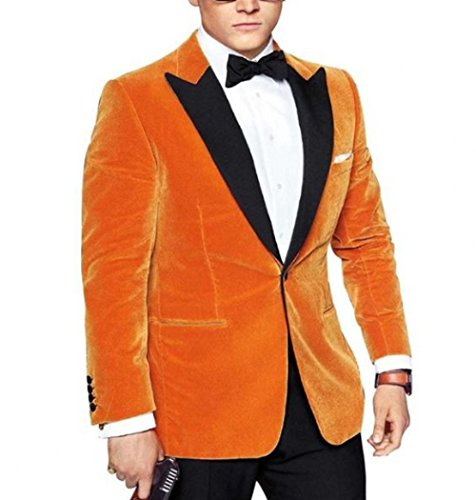 - Peak Lapel Gold Velvet Men Coat Blazer Prom Dress