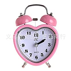 Playing Bell Alarm Clock 3 Inch Luminous Silence Metal Bell Bell Creative Promotional Gifts Heart-shaped pink