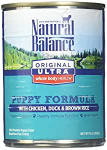Natural Balance Puppy Formula Canned Wet Dog Food, Original Ultra Whole Body Health, Chicken, Duck & Brown Rice Formula, 13-Ounce Can (Pack of 12)