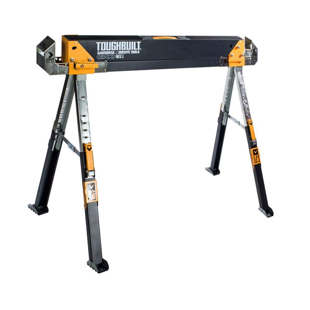 Heavy-Duty Steel Saw Horse Adjustable Portable Folding Pair (1-Pc)
