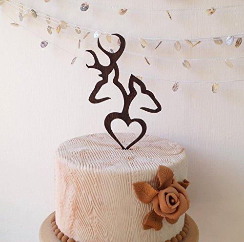 Deer cake topper, wedding cake topper, buck and doe wedding cake topper, wooden cake topper, rustic cake topper, deer antlers cake topper (Finish Oak Wood Woodland)