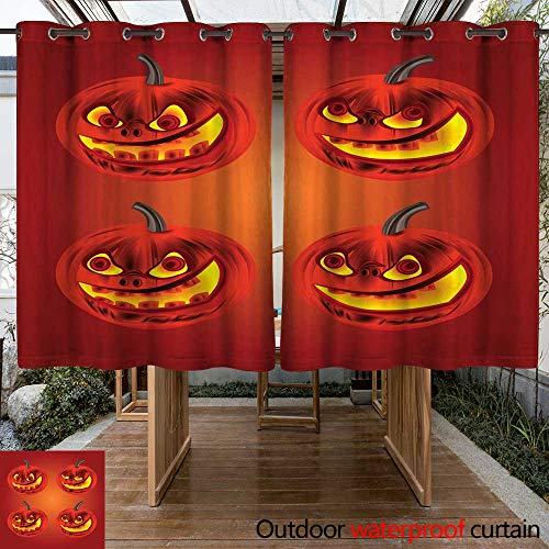 RenteriaDecor Outdoor Balcony Privacy Curtain Happy Halloween Merry Pumpkin Vector W108 x L72 -