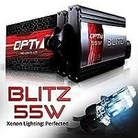 OPT7 BLTZ 55W H4 9003 Bi-Xenon HID Kit - 3X Brighter - 4X Longer Life - All Bulb Sizes and Colors - 2 Yr Warranty [6000K Lightning Blue Light]