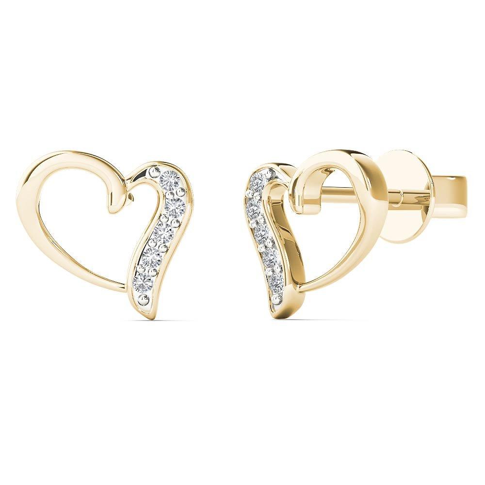 JewelAngel Women's 10K Yellow Gold Natural Diamond Accent Open Heart Stud Earrings (H-I, I1-I2)