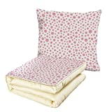 iPrint Quilt Dual-Use Pillow Pearls Pattern with Large Small Baby Pink Color Pearls Precious Stones Nursery Bridal Print Multifunctional Air-Conditioning Quilt Pink White