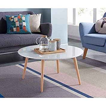 Table basse style scandinave en MDF laqué blanc brillant - L 80 xl 80 cm