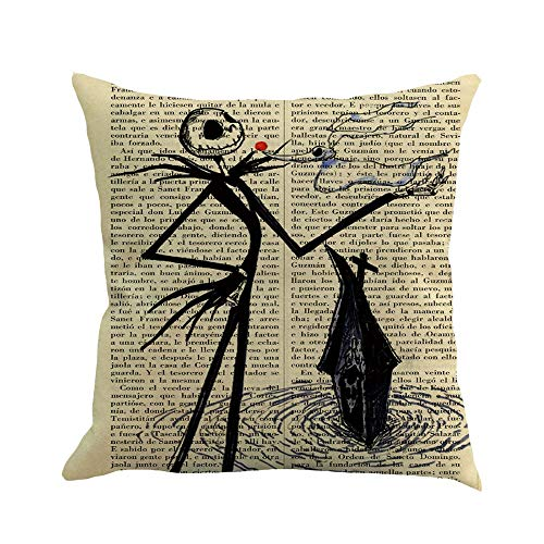 WFeieig_Halloween Textile Faux Linen Square 2 Tone Woven Fine Throw Pillow Sham Cushion Case Covers for Car/Couch Use Black -
